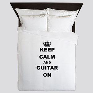 KEEP CALM AND GUITAR ON Queen Duvet